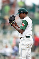 Fort Wayne TinCaps starting pitcher Austin Smith (9) looks in for the sign during the second game of a doubleheader against the Great Lakes Loons on May 11, 2016 at Parkview Field in Fort Wayne, Indiana.  Great Lakes defeated Fort Wayne 5-0.  (Mike Janes/Four Seam Images)