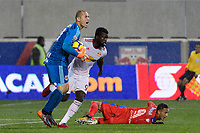 Harrison, NJ - Thursday March 01, 2018: Luis Robles, Kemar Lawrence, Diego Reyes. The New York Red Bulls defeated C.D. Olimpia 2-0 (3-1 on aggregate) during a 2018 CONCACAF Champions League Round of 16 match at Red Bull Arena.