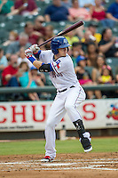 Round Rock Express outfielder Ryan Rua (12) at bat during the Pacific Coast League baseball game against the Oklahoma City RedHawks on August 1, 2014 at the Dell Diamond in Round Rock, Texas. The Express defeated the RedHawks 6-5. (Andrew Woolley/Four Seam Images)