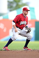 Lehigh Valley IronPigs shortstop Brian Bocock (10) during a game vs. the Buffalo Bisons at Coca-Cola Field in Buffalo, New York;  August 1, 2010.  Buffalo defeated Lehigh Valley 2-1 in 10 innings.  Photo By Mike Janes/Four Seam Images