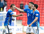 St Johnstone v Dundee…25.08.18…   McDiarmid Park     SPFL<br />David McMillan, Tony Watt and Drey Wright celebrate at full time<br />Picture by Graeme Hart. <br />Copyright Perthshire Picture Agency<br />Tel: 01738 623350  Mobile: 07990 594431