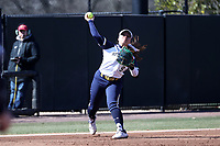 DURHAM, NC - FEBRUARY 29: Chelsea Purcell #9 of the University of Notre Dame throws to first base for an out during a game between Notre Dame and Duke at Duke Softball Stadium on February 29, 2020 in Durham, North Carolina.