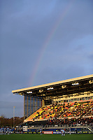 20130127 Copyright onEdition 2013©.Free for editorial use image, please credit: onEdition..General view of a rainbow over Allianz Park during the LV= Cup match between Saracens and Cardiff Blues at Allianz Park on Sunday 27th January 2013 (Photo by Rob Munro)..For press contacts contact: Sam Feasey at brandRapport on M: +44 (0)7717 757114 E: SFeasey@brand-rapport.com..If you require a higher resolution image or you have any other onEdition photographic enquiries, please contact onEdition on 0845 900 2 900 or email info@onEdition.com.This image is copyright onEdition 2013©..This image has been supplied by onEdition and must be credited onEdition. The author is asserting his full Moral rights in relation to the publication of this image. Rights for onward transmission of any image or file is not granted or implied. Changing or deleting Copyright information is illegal as specified in the Copyright, Design and Patents Act 1988. If you are in any way unsure of your right to publish this image please contact onEdition on 0845 900 2 900 or email info@onEdition.com