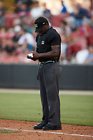 Home plate umpire Tre Jester makes notes during the game between the Delmarva Shorebirds and the Pescados de Carolina at Five County Stadium on September 4, 2021 in Zebulon, North Carolina. (Brian Westerholt/Four Seam Images)
