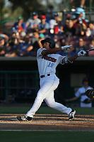 Jahmai Jones (19) of the Inland Empire 66ers bats against against the Rancho Cucamonga Quakes at San Manuel Stadium on July 29, 2017 in San Bernardino, California. Inland Empire defeated Rancho Cucamonga, 6-4. (Larry Goren/Four Seam Images)