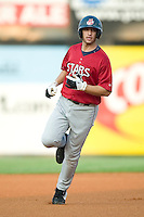 Huntsville third baseman Ryan Braun rounds the bases following his solo home run in the top of the first inning versus Carolina at Five County Stadium in Zebulon, NC, Thursday, July 20, 2006.