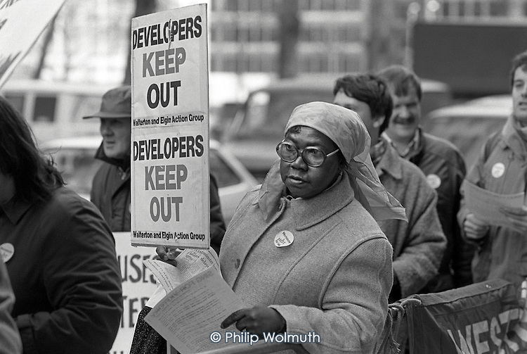Members of Westminster Housing Forum demonstrate outside the launch of the Westminster Home Ownership Centre in Victoria, set up to encourage the sale of council homes.