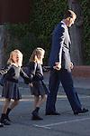 14.09.2012. Prince Felipe of Spain, Princess Letizia of Spain and their daughters Leonor and Sofia  arrive at 'Santa Maria de los Rosales' School in Aravaca near of Madrid, Spain. In the image (L-R) Princess Sofia, Princess Leonor and Prince Felipe (Alterphotos/Marta Gonzalez)