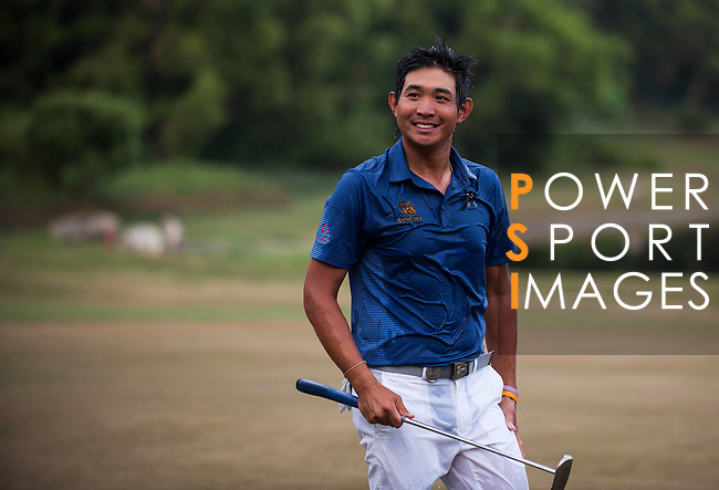 Pavit Tangkamolprasert of Thailand reacts after winning the Venetian Macao Open 2016 at the Macau Golf and Country Club on 16 October 2016 in Macau, China. Photo by Marcio Machado / Power Sport Images