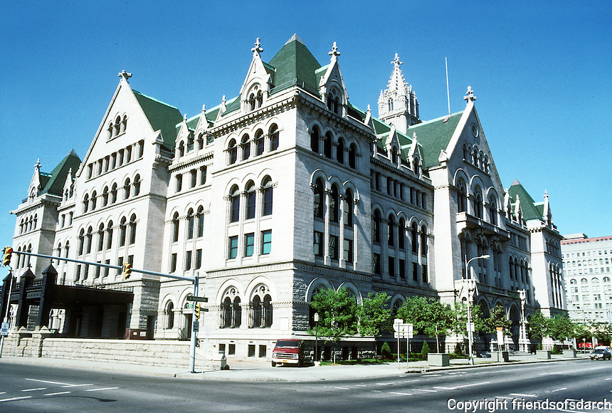 """Buffalo: Old Post Office 1894-1901. Now Erie Community College. """"One of the many progeny of Richardson's Allegheny County Courthouse""""  Magnificent interior space. James Knox Taylor. Gothic Revival. National Register of Historic Places 1972. Photo '88."""