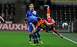 FIFA 2014 World Cup Qualifier - Wales v Croatia - Swansea - 26th March 2013 : Hal Robson-Kanu flies in the air as he misses the ball.
