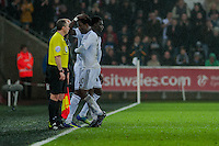 Sunday  14th   December 2014 <br /> Pictured: Wilfried Bony of Swansea City id replaced by Bafetibis Gomis of Swansea City <br /> Re: Barclays Premier League Swansea City v Tottenham Hotspur  at the Liberty Stadium, Swansea, Wales,UK