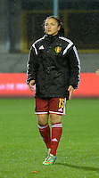 20151130 - LEUVEN ,  BELGIUM : Belgian Sara Yuceil pictured during the female soccer game between the Belgian Red Flames and Serbia , the third game in the qualification for the European Championship in The Netherlands 2017  , Monday 30 November 2015 at Stadion Den Dreef  in Leuven , Belgium. PHOTO DIRK VUYLSTEKE