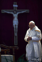 Pope Francis attends a Marian prayer vigil as part of the celebrations of the Jubilee of Mercy at St Peter's square in Vatican. on October 8, 2016