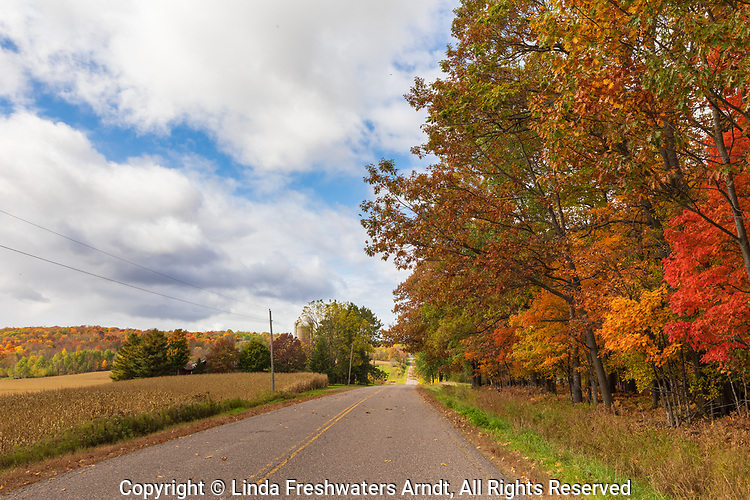 A country road on a beautiful autumn day in northern Wisconsin.