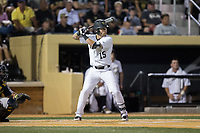 Logan Harvey (15) of the Wake Forest Demon Deacons at bat against the West Virginia Mountaineers in Game Four of the Winston-Salem Regional in the 2017 College World Series at David F. Couch Ballpark on June 3, 2017 in Winston-Salem, North Carolina.  The Demon Deacons walked-off the Mountaineers 4-3.  (Brian Westerholt/Four Seam Images)