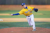 Delaware Blue Hens relief pitcher Luke Alicknavitch (39) delivers a pitch to the plate against the Georgetown Hoyas at Wake Forest Baseball Park on February 13, 2015 in Winston-Salem, North Carolina.  The Blue Hens defeated the Hoyas 3-0.  (Brian Westerholt/Four Seam Images)