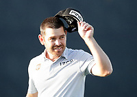 17th July 2021; Royal St Georges Golf Club, Sandwich, Kent, England; The Open Championship Golf, Day Three; Louis Oosthuizen (RSA) acknowledges the applause from fans in the grandstand after completing his round and being 12 under par
