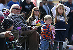 Leo Luchetti and his grandchildren Jackson and Roxy Moyer, 2 and 5, watch the the annual Nevada Day parade in Carson City, Nev. on Saturday, Oct. 29, 2016. Cathleen Allison/Carson City Culture & Tourism Authority