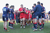 Jersey Reds are clapped off the pitch after victory in the Greene King IPA Championship match between London Scottish Football Club and Jersey at Richmond Athletic Ground, Richmond, United Kingdom on 18 February 2017. Photo by David Horn / PRiME Media Images.