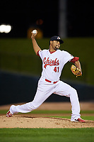 Peoria Chiefs relief pitcher Estarlin Arias (41) delivers a pitch during a game against the West Michigan Whitecaps on May 8, 2017 at Dozer Park in Peoria, Illinois.  West Michigan defeated Peoria 7-2.  (Mike Janes/Four Seam Images)