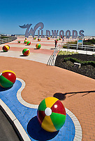 Wildwoods Sign and Colorful Beach Balls on the boardwalk in Wildwood, New Jersey.