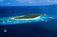 Aerial view of Sandy Cay<br /> British Virgin Islands