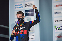 2nd place finisher Toon Aerts (BEL/Baloise Trek Lions) on the podium<br /> <br /> Elite Men's Race<br /> Belgian National CX Championships<br /> Meulebeke 2021<br /> <br /> ©kramon