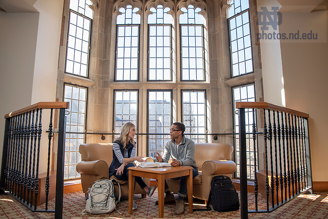 April 9, 2019; Law students study in the Kresge Law Library.  (Photo by Barbara Johnston/University of Notre Dame)