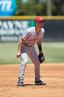 Greeneville Reds third baseman Jonathan India (3) on defense against the Burlington Royals at Burlington Athletic Stadium on July 8, 2018 in Burlington, North Carolina. The Royals defeated the Reds 4-2.  (Brian Westerholt/Four Seam Images)