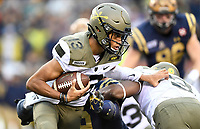 PHILADELPHIA, PA - DEC 14, 2019: Army Black Knights quarterback Christian Anderson (13) runs the football during game between Army and Navy at Lincoln Financial Field in Philadelphia, PA. The Midshipmen defeated Army 31-7. (Photo by Phil Peters/Media Images International)