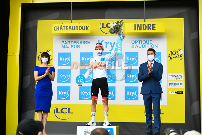 Tadej Pogacar (SLO) UAE Team Emirates retains the young riders White Jersey at the end of Stage 6 of the 2021 Tour de France, running 160.6km from Tours to Chateauroux, France. 1st July 2021.  <br /> Picture: A.S.O./Charly Lopez | Cyclefile<br /> <br /> All photos usage must carry mandatory copyright credit (© Cyclefile | A.S.O./Charly Lopez)