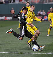 DC United midfielder Andy Najar (14) goes against Columbus Crew defender Rich Balchan (2)    DC United defeated The Columbus Crew 3-1  at the home season opener, at RFK Stadium, Saturday March 19, 2011.