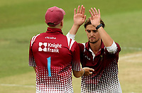 Callum Guest of Cambridgeshire (right) celebrates taking the wicket of Aron Nijjar during Essex Eagles vs Cambridgeshire CCC, Domestic One-Day Cricket Match at The Cloudfm County Ground on 20th July 2021