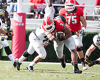 The Georgia Bulldogs beat the App State Mountaineers 45-6 in their homecoming game.  After a close first half, UGA scored 31 unanswered points in the second half.  Georgia Bulldogs running back Todd Gurley (3)