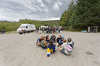 Pictured: Young revellers on site. Monday 31 August 2020<br /> Re: Around 70 South Wales Police officers executed a dispersal order at the site of an illegal rave party, where they confiscated sound gear used by the organisers in woods near the village of Banwen, in south Wales, UK.