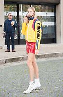 October 3 2017, PARIS FRANCE the Miu Miu<br /> Show at the Paris Fashion Week Spring Summer 2017/2018. : Elena Perminova arrives at the show.