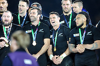 Dan Carter of New Zealand at the centre of the celebrations after winning the Rugby World Cup Final between New Zealand and Australia - 31/10/2015 - Twickenham Stadium, London<br /> Mandatory Credit: Rob Munro/Stewart Communications
