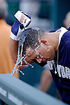Baltimore, MD- May 15: Alex Rodriguez  of the New York Yankees  cools off during during the New York Yankees v Baltimore Orioles  at Oriole Park at Camden Yards in Baltimore, MD on 05/15/12. (Ryan Lasek/ Eclipse Sportswire)