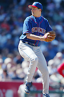 Dan Plesac of the Toronto Blue Jays pitches during a 2002 MLB season game against the Los Angeles Angels at Angel Stadium, in Anaheim, California. (Larry Goren/Four Seam Images)