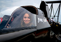 Aug 30, 2019; Clermont, IN, USA; NHRA top alcohol dragster driver Jasmine Salinas during qualifying for the US Nationals at Lucas Oil Raceway. Mandatory Credit: Mark J. Rebilas-USA TODAY Sports