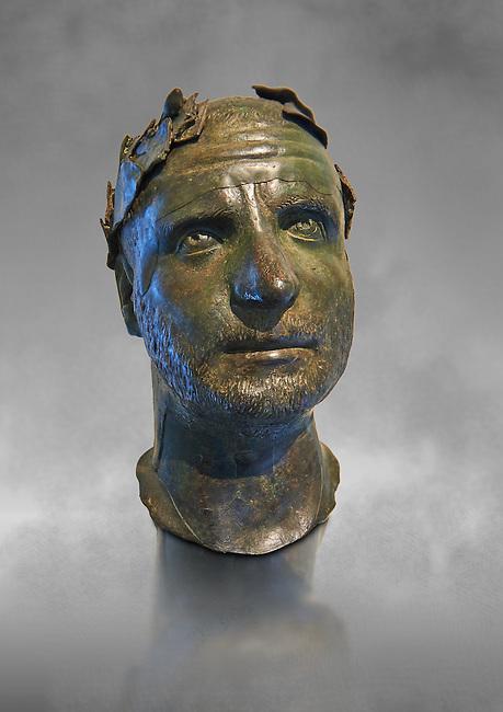 Bronze head of possibly Trebonianus Gallus, 251-253 A.D., inv 15032, Vatican Museum Rome, Italy, grey art background