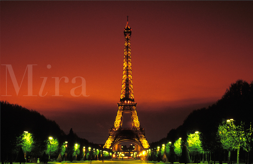 France. Paris.  Eiffel Tower, evening