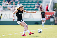 CARY, NC - SEPTEMBER 12: Tyler Lussi #34 of the Portland Thorns warms up before a game between Portland Thorns FC and North Carolina Courage at WakeMed Soccer Park on September 12, 2021 in Cary, North Carolina.