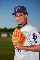 Pensacola Blue Wahoos pitcher Luis Castillo (26) poses for a photo before a game against the Mobile BayBears on April 25, 2017 at Hank Aaron Stadium in Mobile, Alabama.  Mobile defeated Pensacola 3-0.  (Mike Janes/Four Seam Images)