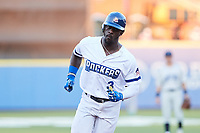 Jared Mitchell (3) of the High Point Rockers rounds the bases after hitting his second home run of the game against the Southern Maryland Blue Crabs at Truist Point on June 18, 2021, in High Point, North Carolina. (Brian Westerholt/Four Seam Images)
