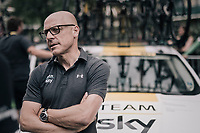 Team SKY manager Sir David Brailsford at the last stage start of the 104th Tour de France 2017 in Montgeron (on a yellow fitted team car)<br /> <br /> Stage 21 - Montgeron › Paris (105km)