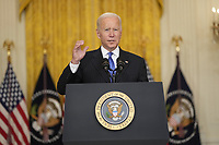 United States President Joe Biden delivers remarks after meeting with senior officials and stakeholders to discuss collective efforts to address global transportation supply chain bottlenecks in the East Room of the White House in Washington, DC on Wednesday, October 13, 2021.<br /> Credit: Chris Kleponis / Pool via CNP /MediaPunch