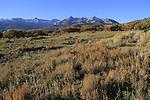 Sneffels Range with autumn colors near Telluride, Colorado, USA. John offers autumn photo tours throughout Colorado.