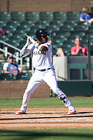 Salt River Rafters center fielder Monte Harrison (4), of the Miami Marlins organization, at bat during an Arizona Fall League game against the Surprise Saguaros at Salt River Fields at Talking Stick on November 5, 2018 in Scottsdale, Arizona. Salt River defeated Surprise 4-3 . (Zachary Lucy/Four Seam Images)